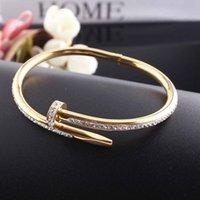 Com caixa vermelha ouro prata titânio bracelete unha pulseira inlay diamante parafuso prego manguito pulseira mulheres homens amor casal pulseira presente jóias