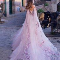 Boho Wedding Dress 2021 3D Flowers Light Purple Beach Bride Dresses Backless Puff Tulle Wedding Gowns Long Train Floor Length