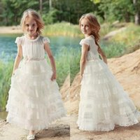 Girl's Dresses Pretty Princess Girl Birthday Party 2021 Cap Sleeves A Line Beautiful Flower Dress For Beach Garden Country Wedding