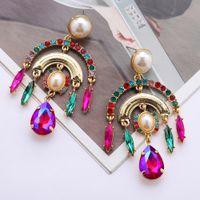 S2446 Fashion Jewelry Multi-layer Arch Dangle Earrings Faux Pearl Colorful Rhinstone Women's Elegant Stud Earring