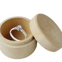 Caixas de armazenamento de madeira redonda pequena caixa de anel vintage decorativo artesanato natural jóias caso acessórios de casamento61 Q2