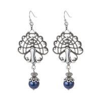 Vintage Peacock Blue Purple Pearl Long Dangle Earrings for Women Tribal Jewelry Silver Color Metal Pendant Earring