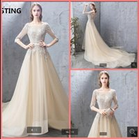 2021 Vestido De Festa champagne tulle a line prom dress half sleeve lace appliques beaded sashes formal evening dresses backless sexy court train elegant party gown