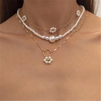 Pendant Necklaces Fashion Gold Silver Color Chain Pearl Bead Flower Necklace For Women Ladies Metal Handmade Floral Multilayer