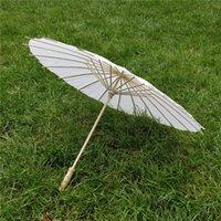 40 60cm Diâmetro China Guarda-chuva Japão Guarda-chuva Tradicional Quadro de Bambu Quadro de Madeira Lidar com Guarda-sóis Artificiais Branco DH2034