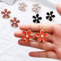 Stud 2021 Korean Flower Earrings For Women Jewelry Enamel Petal Imitation Pearl Tiny Charm Earings Femme Summer Ear Accessories
