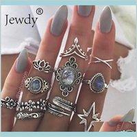 Jewdy boho anéis de prata cor de cristal midi anéis conjunto jóia jóia 10 pçs / lote geométrica geométrica conjunto 6soxd aezd3