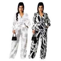 Women's Two Piece Pants Zaggin 2021 Autumn Women Printed 2-colors 2-piece Set Sexy Lady Notched Full Sleeve Shirt Wide Leg Long Sets With Be