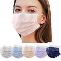 Disposable Face Mask 3 Layers Multi Colors Dustproof Protective facial Masks Anti-Dust lace Salon Earloop Mouth cover Party faceMasks Wholesale