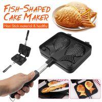 Baking Moulds Home Japanese Non-Stick Taiyaki Waffle Pan Fish-Shaped Frying Bakeware Cake Maker 2 Molds Pancake Tools Cooker
