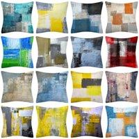 Turquesa e cinza arte artwork travesseiro contemporâneo case cinzento casa decorativo almofadas cobre cobertura de almofada para quarto sofá sala de estar 18x18 polegadas hh21-174