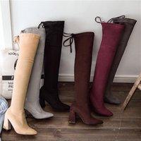 Botas 2021 Tallas grandes 33-46 Mujeres Fetiche sobre la rodilla Cálido Winter Brown Long Might Botines Block 9cm Tacones altos Borgoña Zapatos