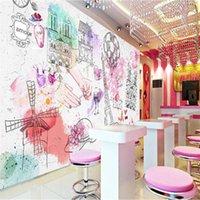 Обои в европейском стиле макияж мода архитектурно-фон стены бумаги 3D ногтей магазин красоты салон студия декор роспись обои