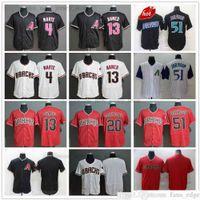2021-22 Novo 13 Nick Ahmed Baseball Jerseys costurado 51 Randy Johnson 20 Luis Gonzalez 4 Starling Marte Vermelho Branco Black Jersey