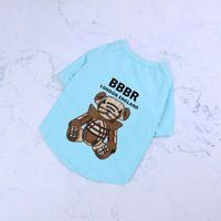 Летняя чистая хлопчатобумажная одежда для домашних животных Тедди Пудель люкс дизайнеры щенок мода футболки медведь письмо печатная собака одежда домашних животных футболка 2021