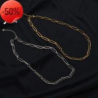 Bijoux bijoux géométrie titane acier fil rond section longue section d'épaisseur collier à chaîne fraîche vent filet rouge bracelet ovale femme