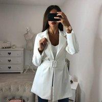 Women's Suits & Blazers Women OL Belt Long Suit Blazer Femme Spring Fall Cool Slim White Ladies Female Coat Jacket Casual Outwear