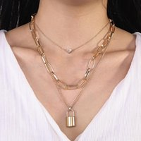 Pendant Necklaces Unisex Simple And Exaggerated Thick Chain Necklace Retro Multi-layer Geometric Lock-shaped Love