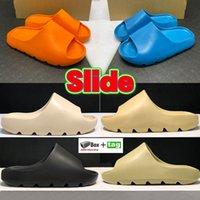 Zapatillas de diapositivas frescas Desert Sand Resin Bone Tierra Brown Beach Enflame Orange Pure Hombres Mujeres Casual Zapatos Casual Solar Solapa Sandalias Sandalinas Zapatillas de deporte con caja
