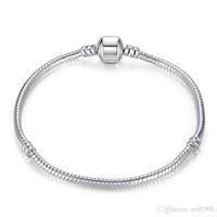 1pcs Drop Shipping Silver Plated Bracelets Women Snake Chain Charm Beads for Pandora Bangle Bracelet Children Gift B001