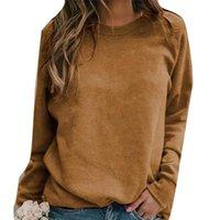 Women's Hoodies & Sweatshirts 2021 Fashion Plus Size Solid Color Crew Neck Long Sleeve Sweatshirt Women Basic Pullover