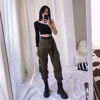 Kadın Pantolon Capris Latimeelon Kargo Kadınlar Katı Cepler Streetwear Moda Kore Öğrenci Rahat Pantalon Femme Bahar Pantolon 13655