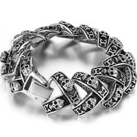 Link, Chain Gothic Skull Charm Bracelets For Men Stainless Steel Masculine Male Jewelry Mens Bracelet Biker Punk Rock Wholesale Drop