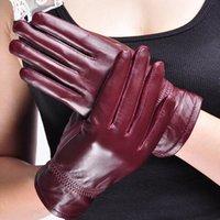 Five Fingers Gloves Elegant Women Genuine Sheep Leather Winter Warm Real Sheepskin Glove Solid Drive Outdoor Multipurpose Mitten