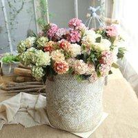 Artificial Silk Hydrangea Fiori Fiori Fiori Bouquet Mazzo Decorazione Qualità Decorazione del partito Peonia Casa Matrimonio H P7L3 Ghirlande decorative