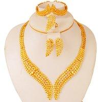 Dubai Schmuck Sets für Frauen Afrikanische Bridal Party Ohrringe Ring Äthiopier 24k Gold Hochzeit Geschenke Nahost Collares 210320