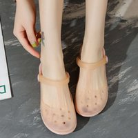flip flopHuili flagship store official website color changing hole Mary Jane jelly beach shoes women sandals
