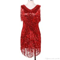 Latin Dance Dress For Women ,Sexy V -Neck ,Sleeveless ,Shiny Sequins ,Fringe Tassels ,Ballroom ,Samba ,Latin Dance Dress ,Rave Costume Red