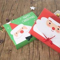 Caja de regalo grande de la víspera de Navidad Santa Claus Diseño de hadas Kraft Papercard presente Favor de la fiesta Favor de la caja Red Green regalos cajas de paquete ZZF9062