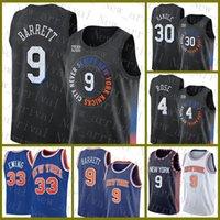 2021 New Basketball Jersey NeuYorkKnicks Herren RJ 9 Barrett Patrick 33 Ewing Mesh Retro 30 Julius Randle 4 Derrick Rose Günstige Lavendel Champagne Weiß