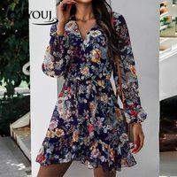 الأزهار طباعة اللباس المرأة طويلة الأكمام الخامس الرقبة البوهيمي قصير شاطئ فساتين ربيع الخريف أزياء الإناث الملابس عارضة