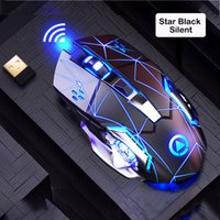2.4G Rechargeable Silent Wireless Mice 1600DPI 6Keys Adjustable Blacklit Gaming Mouse For Computer PC Home Office Gamer