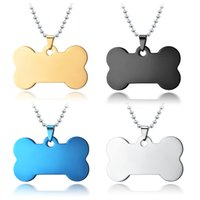 Customized Jewelry Stainless Steel Dog Tag Pendant Chain Blank Pet ID Tags for Cats Engraving Glossy Metal Pendants Necklace Manufacturer Wholesale