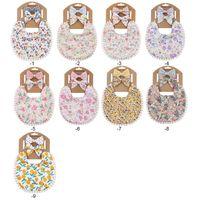 Baby Bibs Burping Clothes Newborn Burp Cloths Girls Accessories Infant Towel Print Flower Headband 2Pcs Set Princess Kids Feeding 3083 Q2