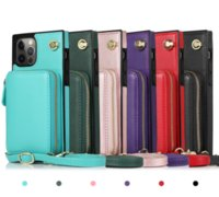 Cross-body zipper card package mobile phone cases covered in plain leather For iPhone 11 12 Pro Max Xs 7 Samsung S10 S20 Plus Note 20 Ulta