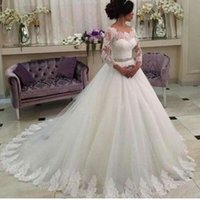 2019 Romantic Ball Gown Wedding Dresses Ivory 3 4 Long Sleeves Scoop Neckline Beaded Belt Lace Trimmed Tulle Chapel Train Bridal Gowns