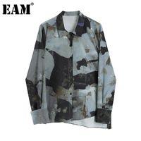 [EAM] Женщины \ Pattern Parted Tementement Blouse отворота с длинным рукавом свободная подходящая рубашка мода прилив весна осень 2021 1da294 женские блузки S