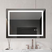Parede montada Modernel sem moldura LED Banheiro Iluminado Vaidade Espelho Anti Nevoeiro Dimmer Retangular Maquiagem Cosmética Luz Com Botões de Toque Controle