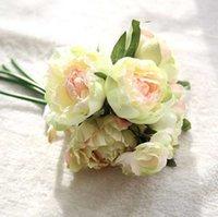 Peônia Artefcial Flor De Seda Buquê De Casamento Decoração Início Exposição Falso Flor Pack 8 Flor Cabeças Coração Peônia Rosa Rosa