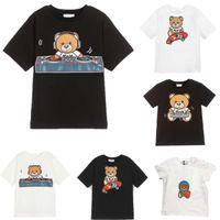 아이 티셔츠 곰 편지 의류 여름 소녀 티셔츠 패션 귀여운 탑스 편안한 캐주얼 어린이 옷 소년 아기 패턴 스타일 티셔츠
