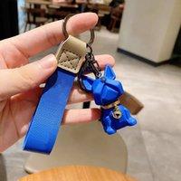 SH002 Favor Silikon Çan Bulldog Tarzı Anahtarlıklar Reçine Kolye Yaratıcı Çift 3D Sevimli Köpek Anahtarlık Zinciri 4 Renkler