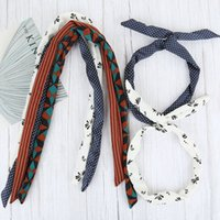 Girls Iron Wire Printed Cloth Hair Band DIY Colorful Bow Headband Home Wash Face Hairband Rabbit Ear Wrapped Headband ZHL5297