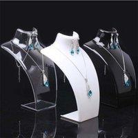 Joyas de embalaje Moda de acrílico de acrílico Pantalla 20 * 13DOT5 * 7DOT3CM Collares colgantes modelo Soporte de soporte Blanco Claro negro Color Drop Deli