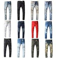 21ss Mens Designer Jeans Distressed Ripped Slim Fit Motorcycle Biker Denim For Men s Top Quality Fashion Mans Pants pour hommes