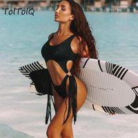 Toltolq léopard Imprimer 2021 Sexy Creux Creux Steel Bague Tassels Bodysuits Beachwear Beach Femmes Femmes Casual Plage Playsuits Jumpseau pour femmes Ro