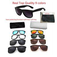 Sunglasses de concepteurs Mens femmes Sun lunettes UV400 ont une fonction de polarisation de mode cadre de mode lunettes de luxe haute qualité 9 couleurs avec boîte + sac cadeau